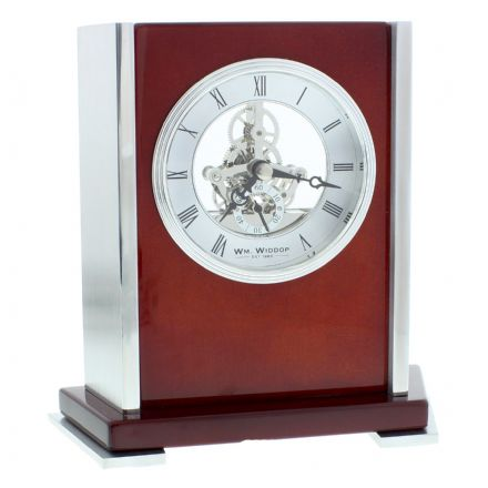 Piano Wood Mantel Clock with Skeleton Dial Roman